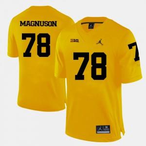 Men Wolverines #78 Erik Magnuson Yellow College Football Jersey 612495-498