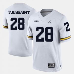 Mens Michigan #28 Fitzgerald Toussaint White College Football Jersey 293027-457