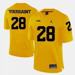 Men Michigan Wolverines #28 Fitzgerald Toussaint Yellow College Football Jersey 760678-243