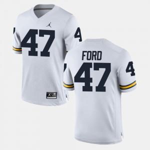 Men's University of Michigan #47 Gerald Ford White Alumni Football Game Jersey 432696-174