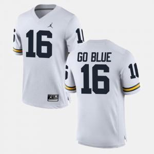 Mens University of Michigan #16 GO BLUE White Alumni Football Game Jersey 172295-166