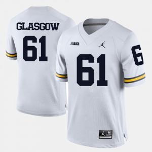 For Men Michigan #61 Graham Glasgow White College Football Jersey 814759-518