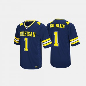 For Men Michigan #1 Navy Hail Mary II Jersey 373567-810