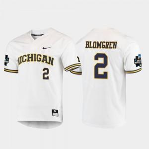 Men Wolverines #2 Jack Blomgren White 2019 NCAA Baseball College World Series Jersey 326152-413
