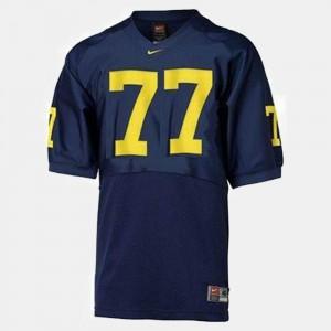 Youth(Kids) Michigan Wolverines #77 Jake Long Blue College Football Jersey 515350-342