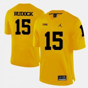 Men's U of M #15 Jake Rudock Yellow College Football Jersey 923886-129
