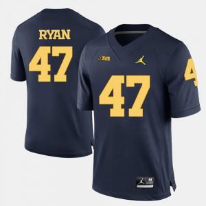 Men Michigan #47 Jake Ryan Navy Blue College Football Jersey 212836-733
