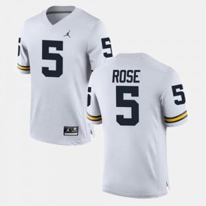 Mens Michigan #5 Jalen Rose White Alumni Football Game Jersey 699643-295