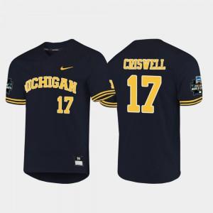 Men's Michigan #17 Jeff Criswell Navy 2019 NCAA Baseball College World Series Jersey 143958-267