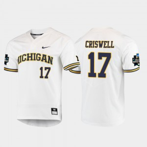 For Men's Michigan #17 Jeff Criswell White 2019 NCAA Baseball College World Series Jersey 782502-967