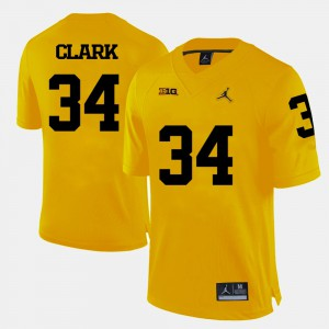 Mens Michigan #34 Jeremy Clark Yellow College Football Jersey 386050-249