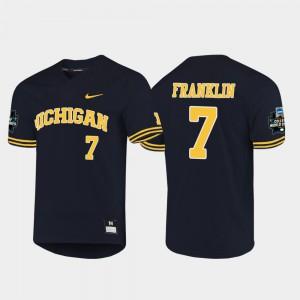 For Men's University of Michigan #7 Jesse Franklin Navy 2019 NCAA Baseball College World Series Jersey 996523-672
