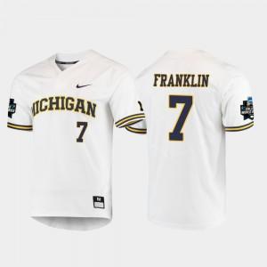 For Men's University of Michigan #7 Jesse Franklin White 2019 NCAA Baseball College World Series Jersey 950120-790