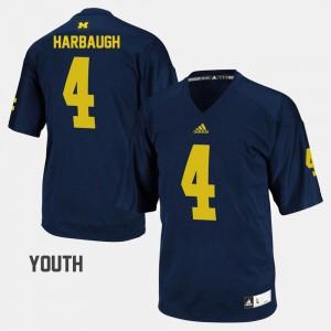 Kids Wolverines #4 Jim Harbaugh Navy College Football Jersey 924022-909