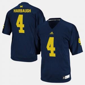 For Men Michigan #4 Jim Harbaugh Navy College Football Jersey 237900-617