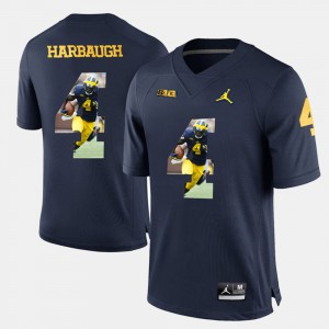 For Men Michigan #4 Jim Harbaugh Navy Blue Player Pictorial Jersey 589620-915