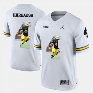 Men's Michigan Wolverines #4 Jim Harbaugh White Player Pictorial Jersey 701322-235