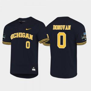 For Men's U of M #0 Joe Donovan Navy 2019 NCAA Baseball College World Series Jersey 389452-526