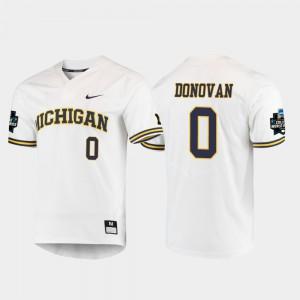 For Men Wolverines #0 Joe Donovan White 2019 NCAA Baseball College World Series Jersey 608592-574