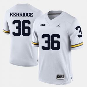Men's Michigan #36 Joe Kerridge White College Football Jersey 398396-873