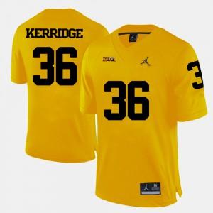 Men's University of Michigan #36 Joe Kerridge Yellow College Football Jersey 389182-445