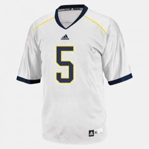 For Kids University of Michigan #5 John Wangler White College Football Jersey 957445-428