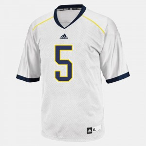 For Men's Michigan #5 John Wangler White College Football Jersey 924687-332