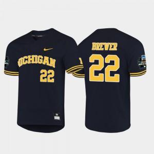 Men Michigan #22 Jordan Brewer Navy 2019 NCAA Baseball College World Series Jersey 692961-940