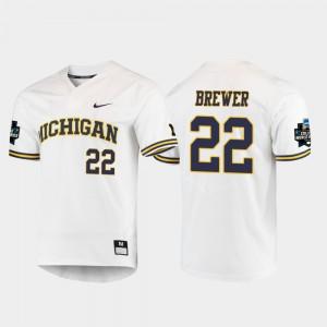 Men University of Michigan #22 Jordan Brewer White 2019 NCAA Baseball College World Series Jersey 403654-399
