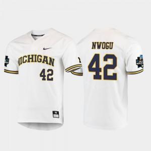 Men Michigan Wolverines #42 Jordan Nwogu White 2019 NCAA Baseball College World Series Jersey 119345-474