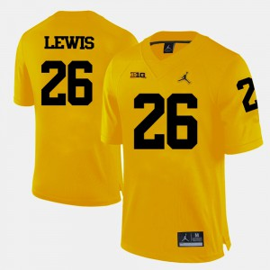 For Men's Michigan #26 Jourdan Lewis Yellow College Football Jersey 438330-208
