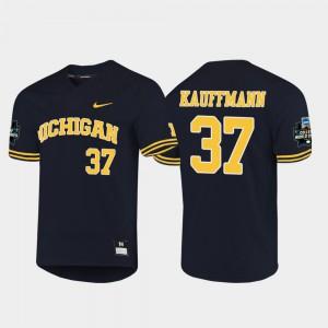 Men's Michigan #37 Karl Kauffmann Navy 2019 NCAA Baseball College World Series Jersey 200871-927