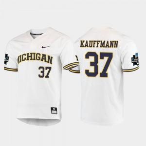 Men University of Michigan #37 Karl Kauffmann White 2019 NCAA Baseball College World Series Jersey 572621-552