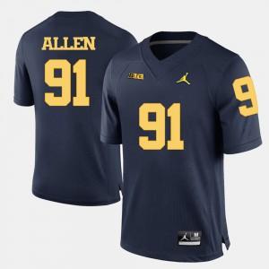 Men Michigan #91 Kenny Allen Navy Blue College Football Jersey 711340-804