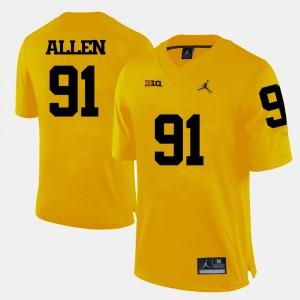 Mens University of Michigan #91 Kenny Allen Yellow College Football Jersey 934313-901