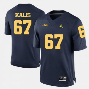 For Men's Wolverines #67 Kyle Kalis Navy Blue College Football Jersey 757244-810