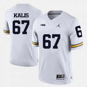 Mens Michigan Wolverines #67 Kyle Kalis White College Football Jersey 383968-934