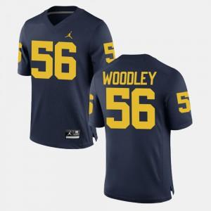 For Men Michigan #56 Lamarr Woodley Navy Alumni Football Game Jersey 640943-992