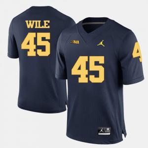 Mens Wolverines #45 Matt Wile Navy Blue College Football Jersey 187811-271