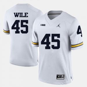 Mens Michigan #45 Matt Wile White College Football Jersey 857596-264
