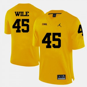 Men U of M #45 Matt Wile Yellow College Football Jersey 834378-260