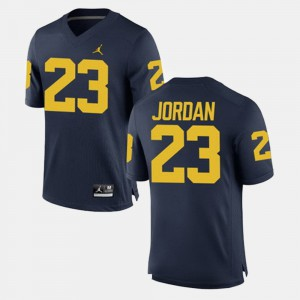 Men's Michigan #23 Michael Jordan Navy Alumni Football Game Jersey 539208-485
