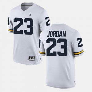 Mens Michigan Wolverines #23 Michael Jordan White Alumni Football Game Jersey 201765-501