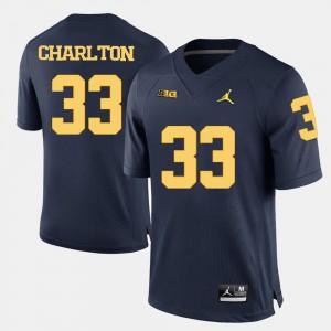 For Men's University of Michigan #33 Taco Charlton Navy Blue College Football Jersey 467624-357
