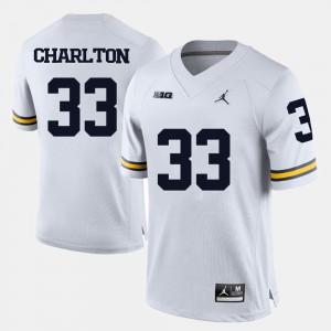 For Men Michigan #33 Taco Charlton White College Football Jersey 172082-531