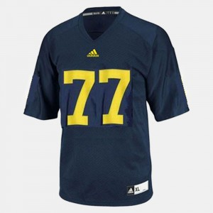 For Kids University of Michigan #77 Taylor Lewan Blue College Football Jersey 750048-228