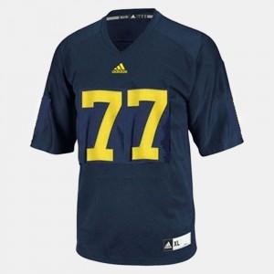 Men Wolverines #77 Taylor Lewan Blue College Football Jersey 261646-928