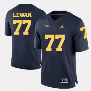 Men University of Michigan #77 Taylor Lewan Navy Blue College Football Jersey 242697-721