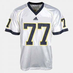 Youth Michigan Wolverines #77 Taylor Lewan White College Football Jersey 329675-997