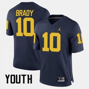 Youth Wolverines #10 Tom Brady Navy Alumni Football Game Jersey 606610-152